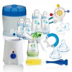 MAM All-In-One Starterset II 28 tlg Anti-Colic Flaschen Milchpumpe Sterilisator - BLUE