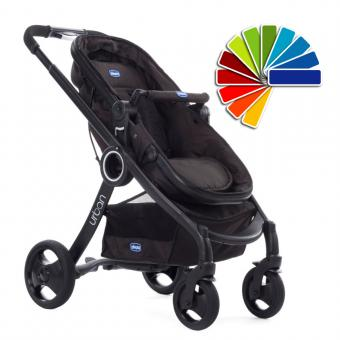 Chicco 2017 Urban PLUS CROSSOVER Convertible Stroller BLACK inkl. Color Kit